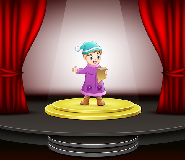 Caricatura, de, menininho, cantando, fase Vetor Premium