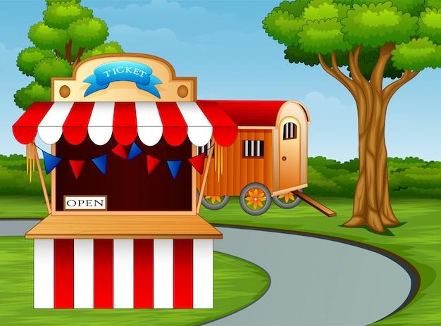 Caricatura, de, parque divertimento, entrada, à margem estrada Vetor Premium