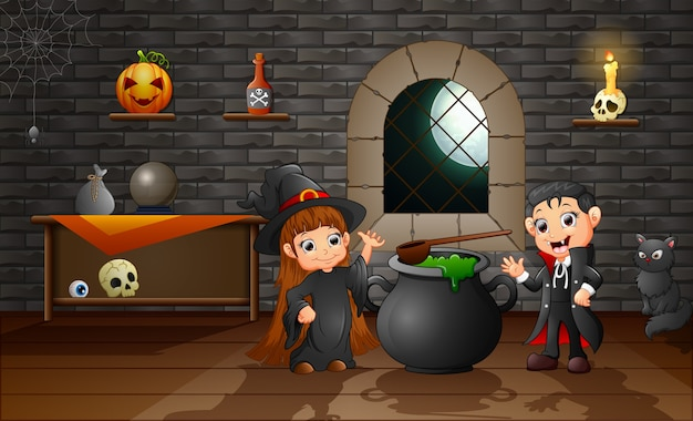 Caricatura, de, pequeno, bruxa, e, vampiro Vetor Premium