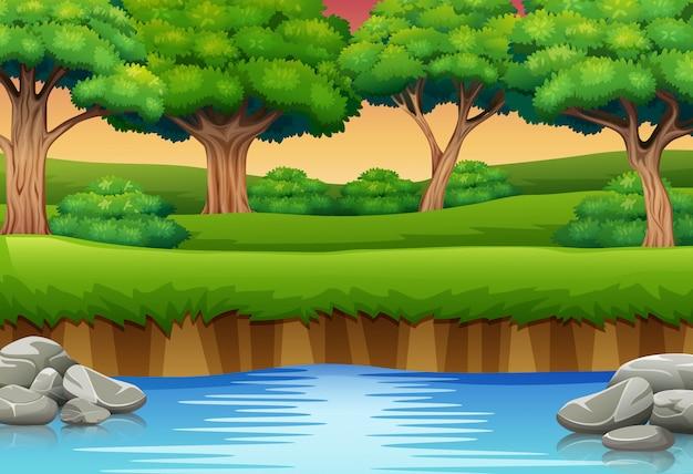 Caricatura, de, rio, em, a, floresta, e, silhuetas, fundo Vetor Premium