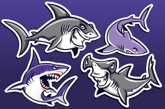 Caricatura, de, tubarão, pacote coleção Vetor Premium
