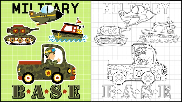 Caricatura de veículos militares Vetor Premium
