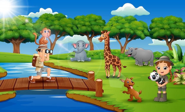 Caricatura, de, zookeeper, menino menina, com, animal, em, a, selva Vetor Premium