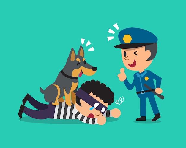 Caricatura, doberman, cão, ajudando, policial, pegar, ladrão Vetor Premium