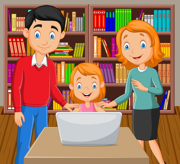 Caricatura, família feliz, observar, um, laptop Vetor Premium