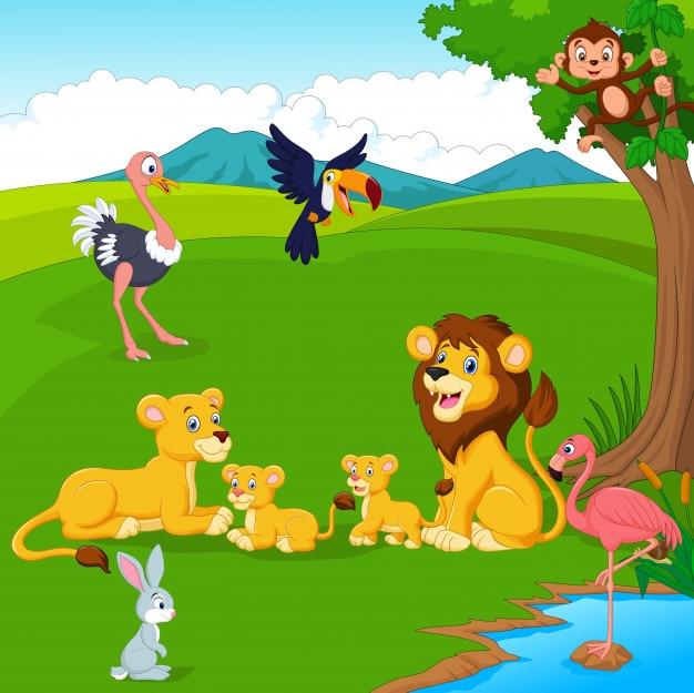 Caricatura, família leão, em, a, selva Vetor Premium