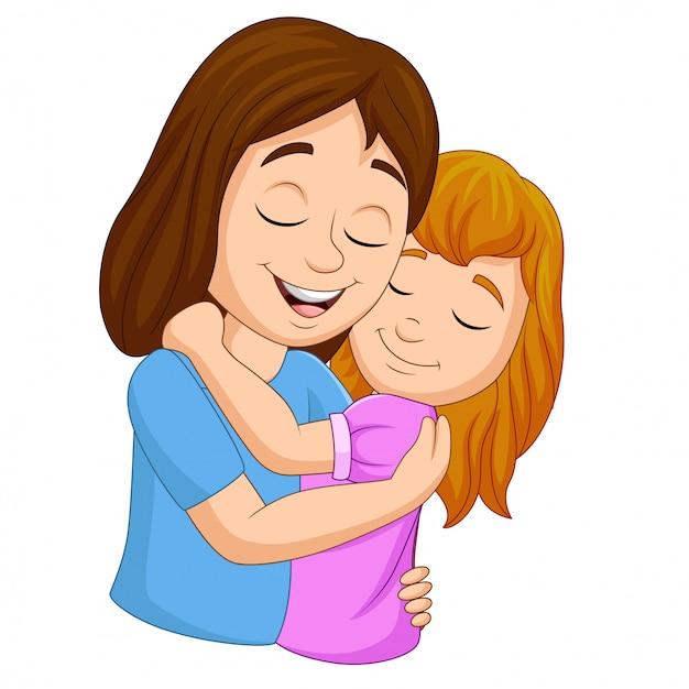 Caricatura, feliz, mãe, abraçar, dela, filha Vetor Premium