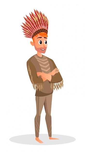 Caricatura, homem, em, nativo americano, traje, headdress Vetor Premium