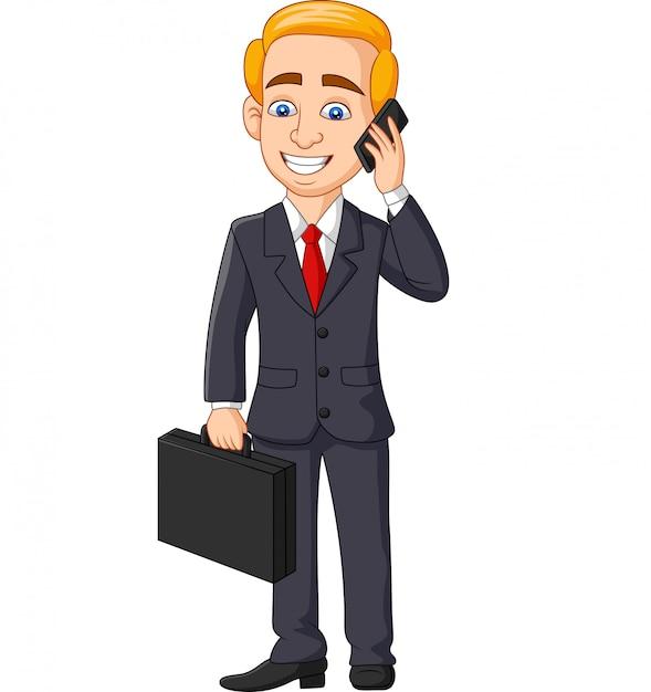 Caricatura, homem negócios, falando telefone, pasta pasta pasta Vetor Premium