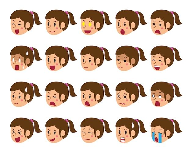 Caricatura, jogo, de, um, mulher enfrenta, mostrando, diferente, emoções Vetor Premium