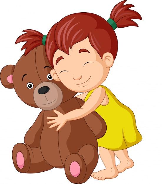 Caricatura, menininha, abraçando, urso teddy Vetor Premium