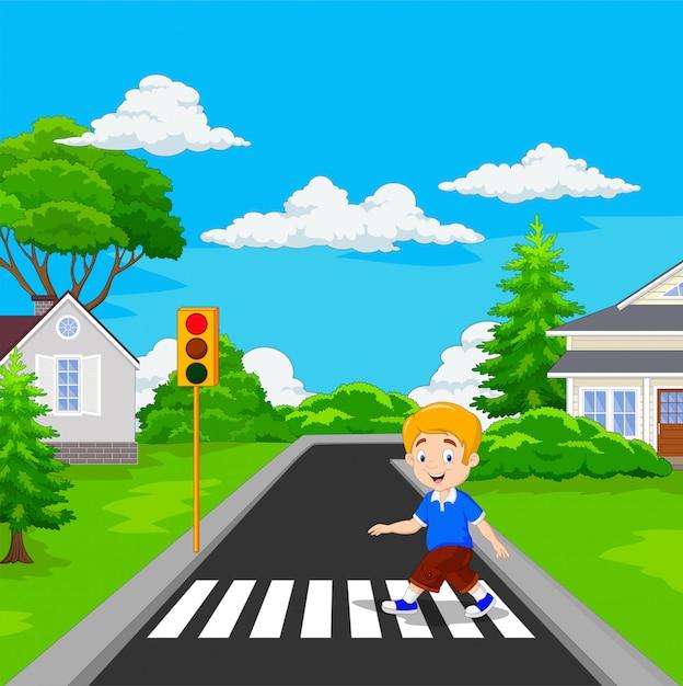 Caricatura, menino, andar, através, crosswalk Vetor Premium
