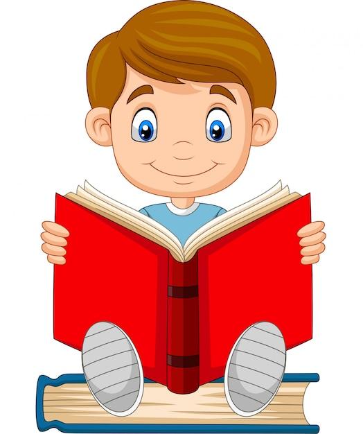 Caricatura, menino, lendo um livro Vetor Premium