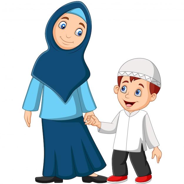 Caricatura, muçulmano, mãe, com, dela, filho Vetor Premium