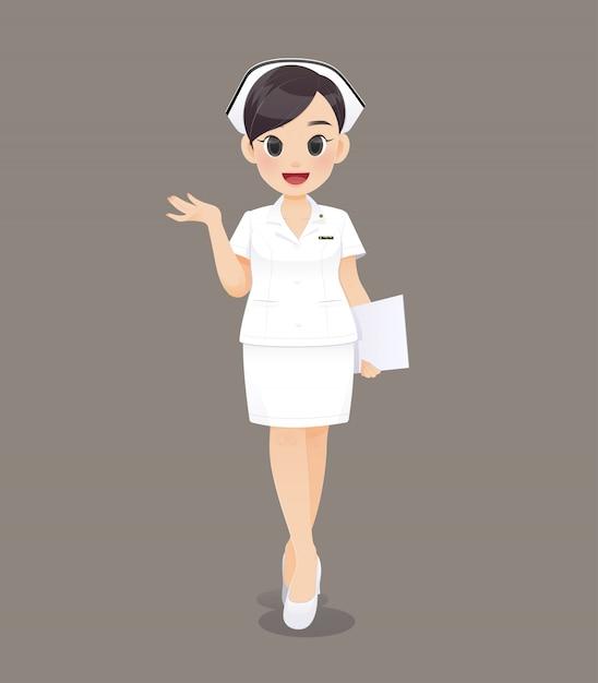 Caricatura, mulher, doutor, ou, enfermeira, em, uniforme branco, sorrindo, femininas, equipe enferma Vetor Premium