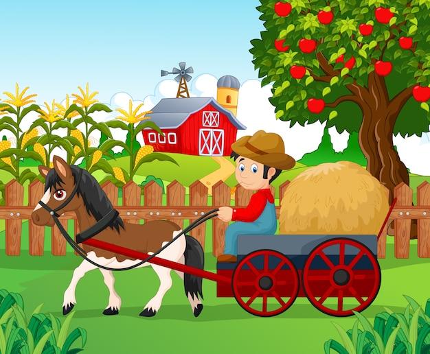Caricatura, pequeno menino, conduzir, cavalo carruagem Vetor Premium