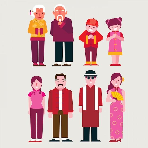 Caricatura, povo chinês Vetor Premium