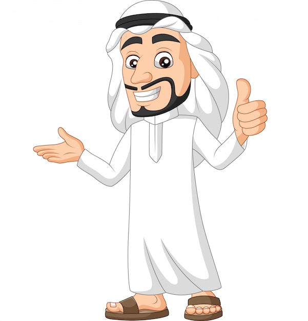 Caricatura, saudita, árabe, homem, dar, um, polegar cima Vetor Premium