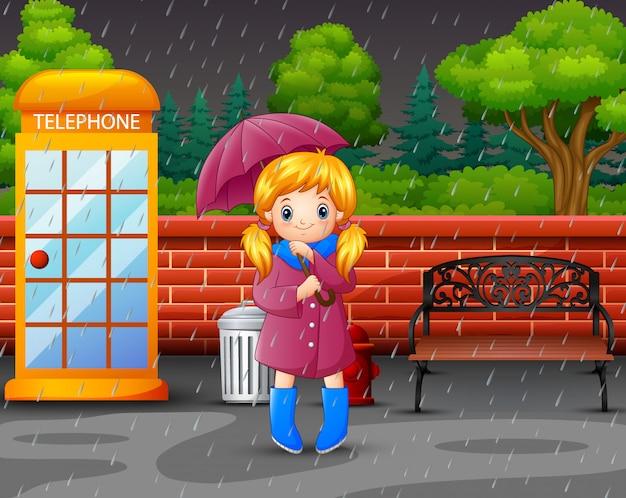 Caricatura, um, menina, guarda-chuva levando Vetor Premium