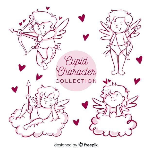 Caricatura, valentine, cupid, cobrança Vetor grátis