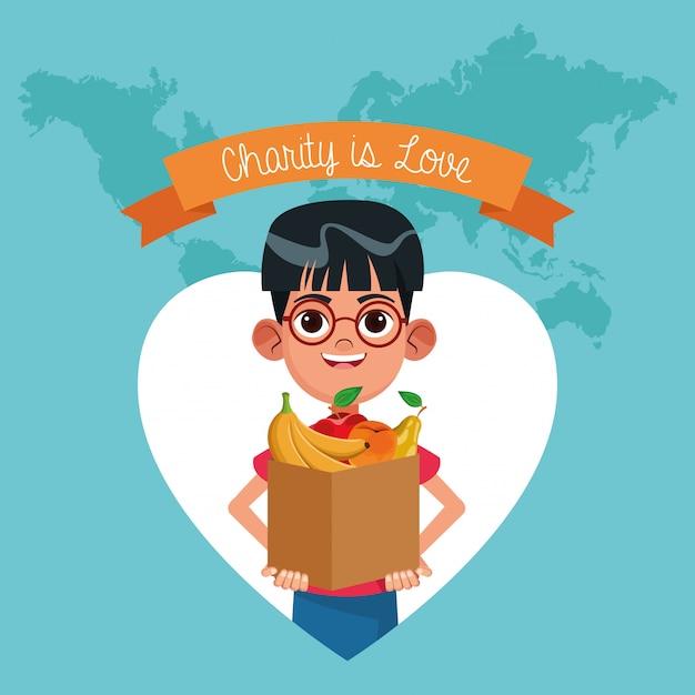 Caridade é caricatura de amor Vetor Premium