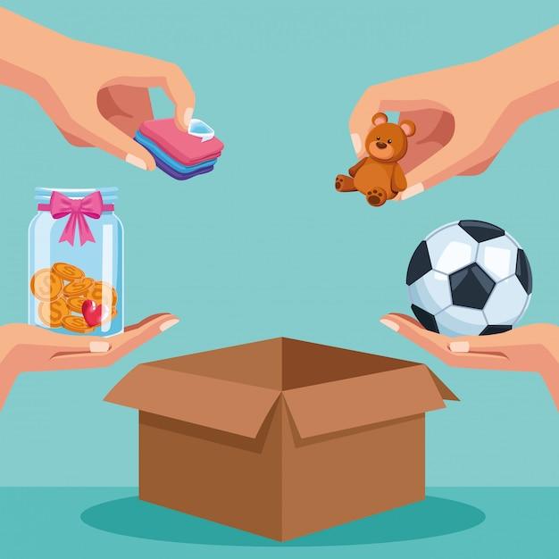 Caridade e doação Vetor Premium