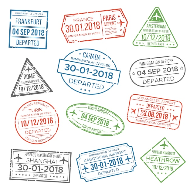 Carimbo de passaporte visa para viajar. Vetor Premium