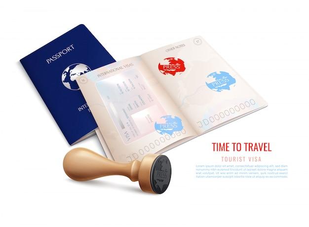 Carimbos de visto de passaporte biométrico realistas com tempo para viajar ilustração de manchete de visto de turista Vetor grátis