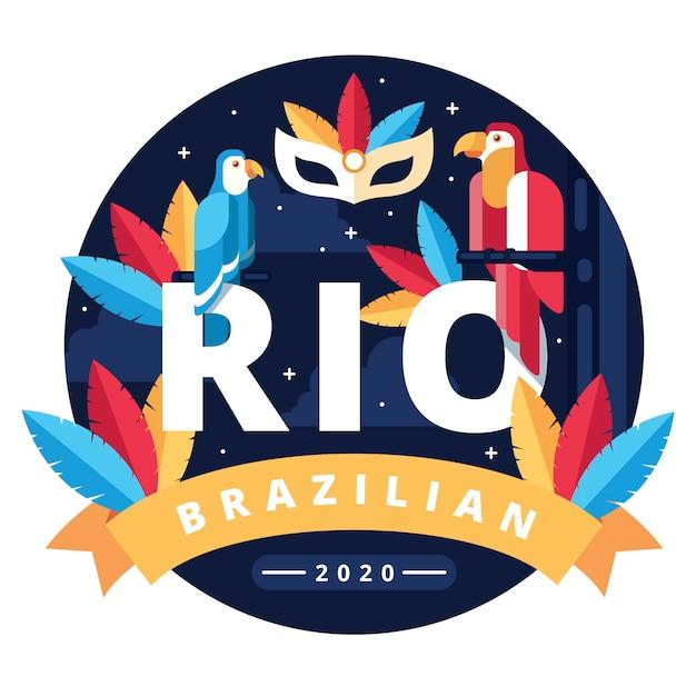 Carnaval brasileiro com papagaios coloridos Vetor grátis