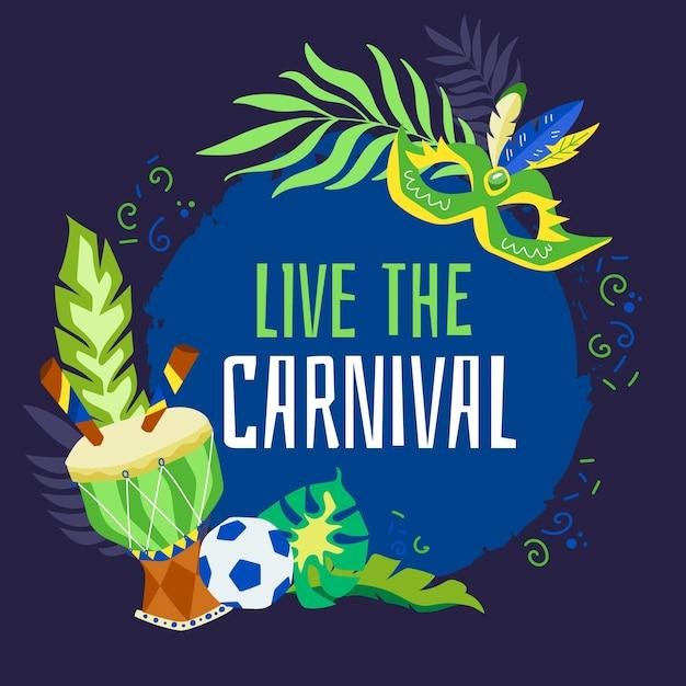Carnaval brasileiro de mão desenhada Vetor grátis