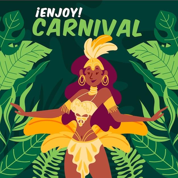 Carnaval brasileiro desenhado à mão com personagem dançando Vetor grátis