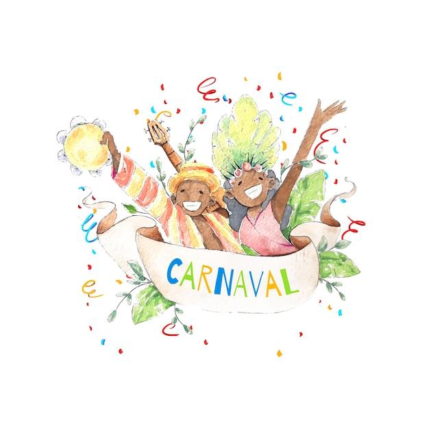 Carnaval brasileiro em aquarela com pessoas sorridentes e confetes Vetor grátis
