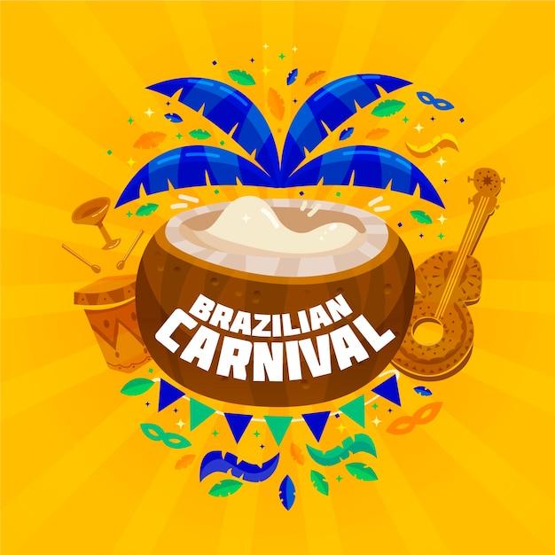 Carnaval brasileiro plano com coco e ukulele Vetor grátis