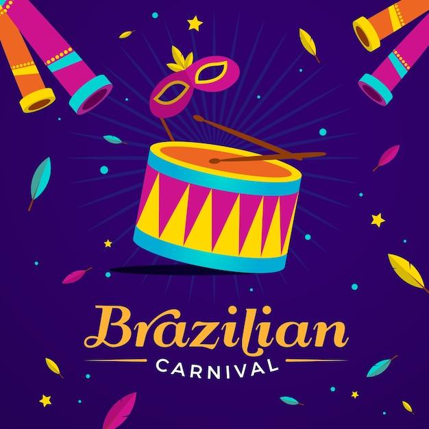 Carnaval brasileiro plano com tambor e letras Vetor grátis