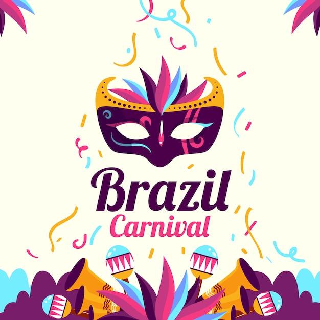 Carnaval brasileiro plano criativo Vetor grátis