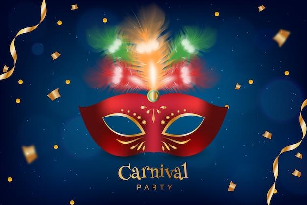 Carnaval brasileiro realista com máscara vermelha e fitas Vetor grátis