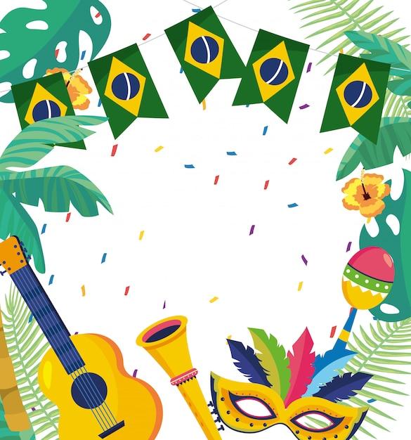 Carnaval celebração brasil fundo Vetor Premium