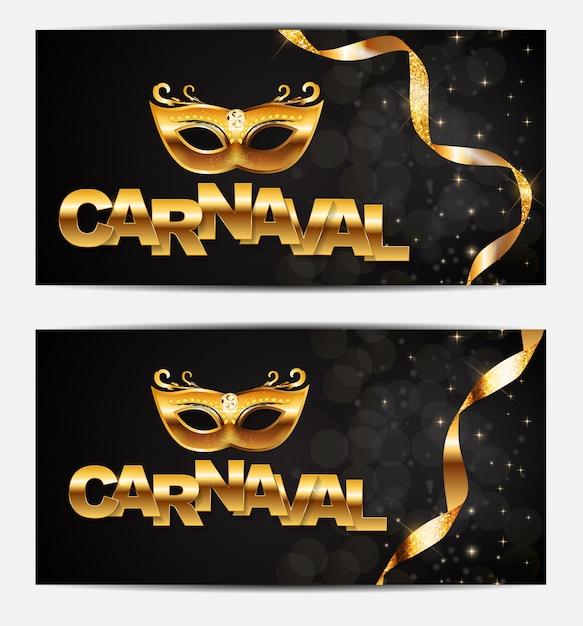 Carnaval com bandeiras de estamenha e balões voadores. ilustração Vetor Premium