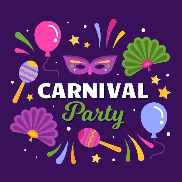 Carnaval com máscara e maracas Vetor grátis