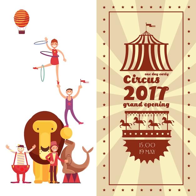 Carnaval de feira de diversões e cartaz de vetor vintage de circo Vetor Premium