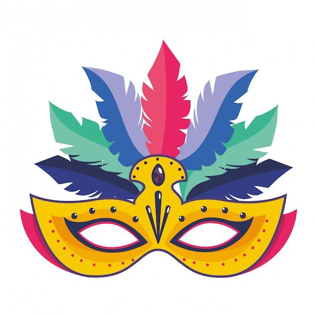 Carnaval de máscara com ilustração vetorial de penas Vetor Premium