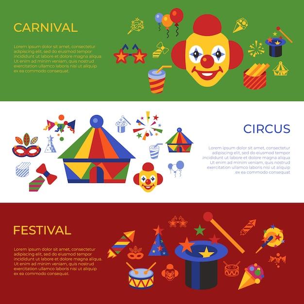 Carnaval de vetor digital e ícones simples de circo, infográficos de estilo simples Vetor Premium