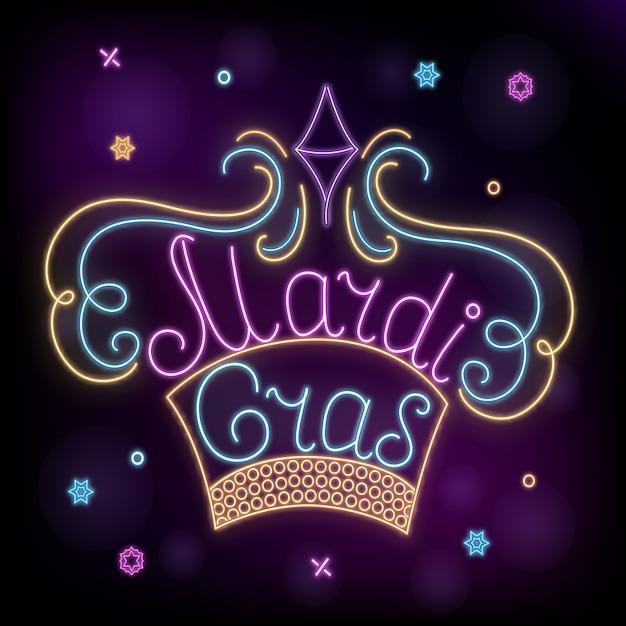Carnaval. decoração de coroa de néon para terça-feira gorda. Vetor Premium