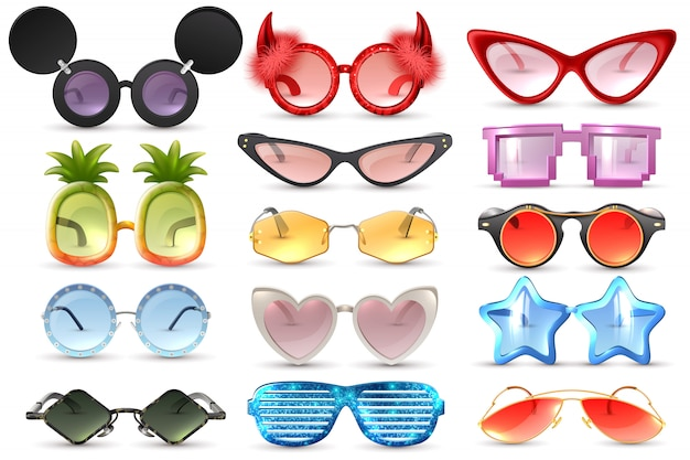 Carnaval festa mascarada traje óculos coração estrela gato olho em forma de óculos engraçados realista conjunto ilustração vetorial isolado Vetor grátis