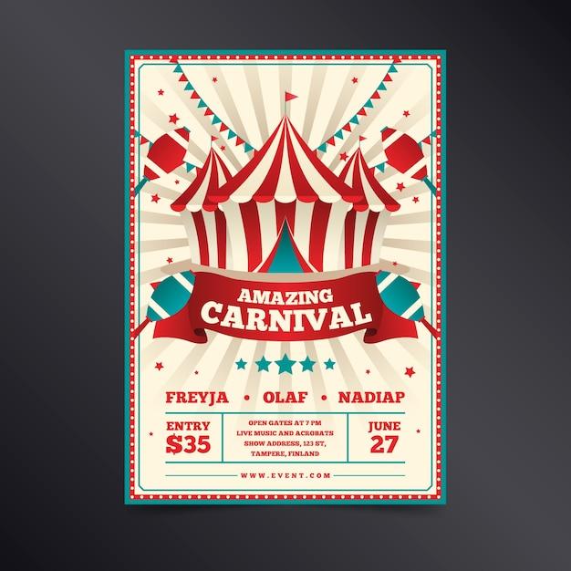 Carnaval incrível retrô em branco e vermelho com fitas Vetor grátis