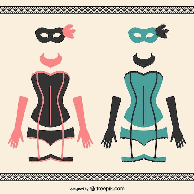 Carnaval mulheres trajes Vetor grátis