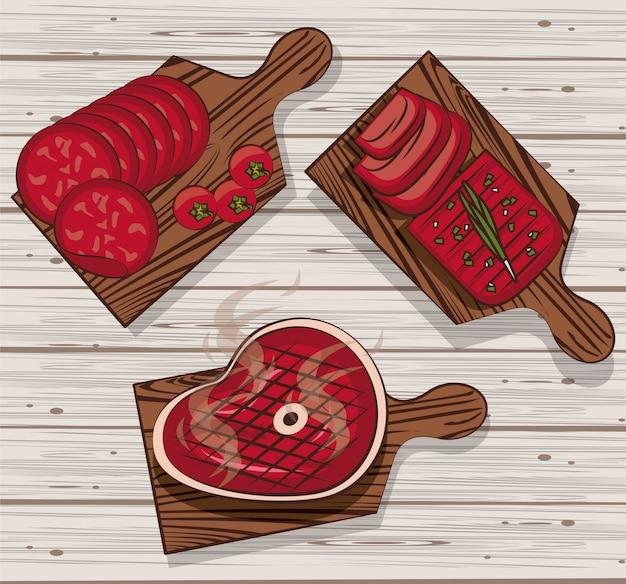 Carne de churrasco em mesas Vetor Premium