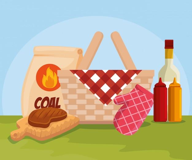 Carne e cesta com carvão e molhos Vetor grátis