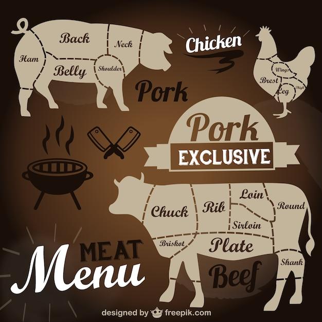 Carne menu template Vetor grátis
