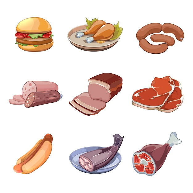 Carne, peixe, frango e fast food. cachorro-quente e hambúrguer, salsicha de almoço de bife de menu. Vetor grátis